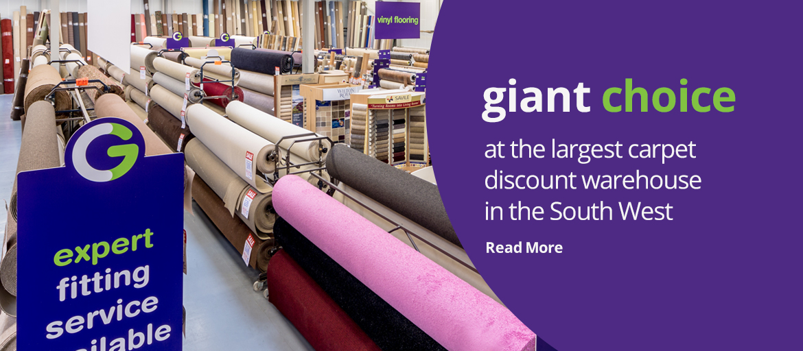Giant choice at the largest carpet discount warehouse in the South West