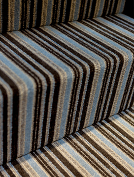 Blue brown grey striped carpet