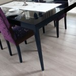 Laminate white flooring black purple dining room