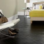 Black vinyl parquet flooring