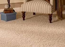 Cream carpet in cream sitting room interior