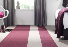 Red and cream carpet tiles