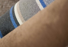 Blue and white striped carpet